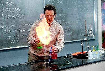 Walt performs the coloured flame experiment.