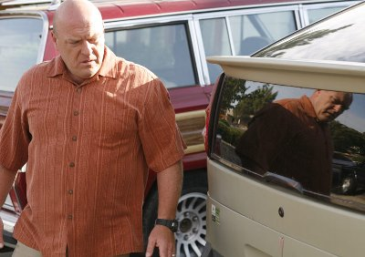 Hank investigates Walt's car.